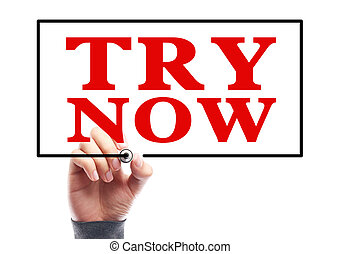 Try Now - Hand with marker is writing the concept of Try Now...