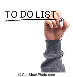 To Do List - Hand with marker writing To Do List on...