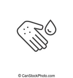 Hand with microbes line icon.