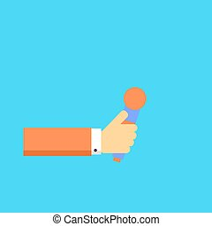 Hand with microphone. Vector illustration.