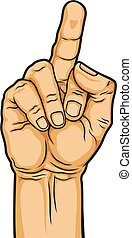 hand with middle finger - vector illustration of hand...