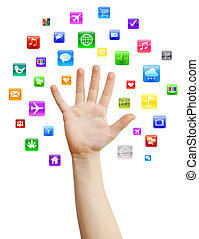 Human hand with variety of colorful mobile applications, isolated on white, clipping path