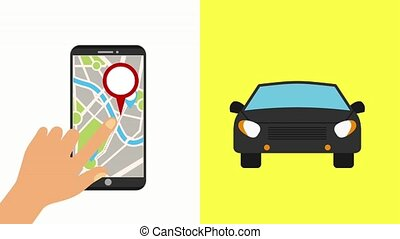 hand with mobile gps navigation map location cars