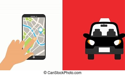 hand with mobile gps navigation map location taxi animation...