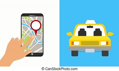 hand with mobile gps navigation map taxi service 24 hours