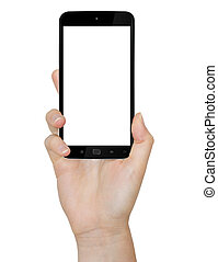 Hand with mobile phone - Woman holding modern mobile phone ...