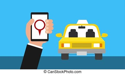 hand with mobile taxi application location service animation...