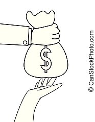 hand with money bag giving