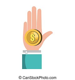 hand with money coin