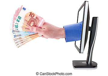 Hand with money coming out from computer monitor
