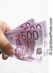 hand with money euro