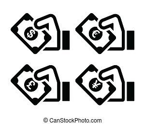 Hand with money icon - dollar, euro