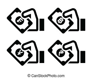 Hand with money icon - franc, baht - Hand holding banknote...