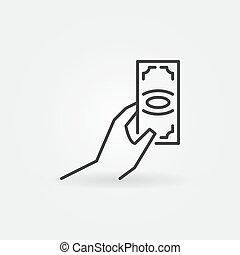 Hand with money icon