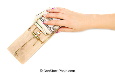 Hand with money in a mousetrap. On a white background.