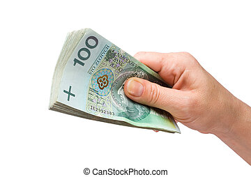 Hand with money isolated on white background