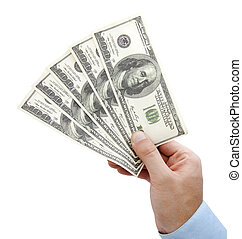 Hand with money isolated