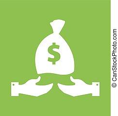 Hand With Money Sack Label