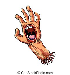 hand with mouth cartoon