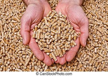 wood pellet - hand with natural wood pellet