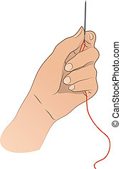 Hand With Needle And Thread