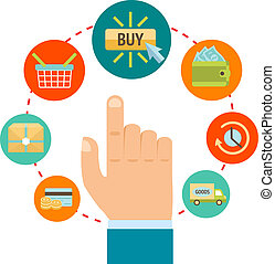 Hand with online shopping icons - Business hand touching buy...