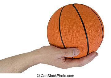 hand with orange ball