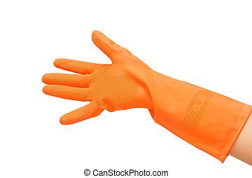 hand with orange on white background