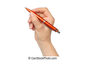 Hand with orange pen on white background