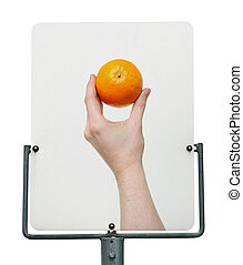 hand with orange road sign