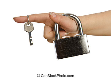 Hand with padlock isolated on white