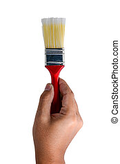 Hand with paint brush isolated on white