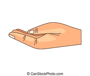 Hand with palm open cartoon isolated