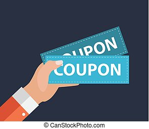 Hand with Paper Coupons Flat Design. Present, Gift, ?oupon Concept. Vector Illustration