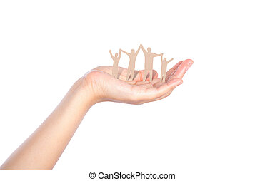 Hand with paper cut of family isolated on background