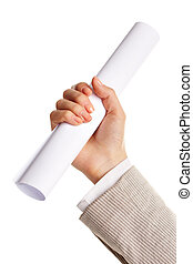 Hand with paper - Image of female hand holding folded paper...