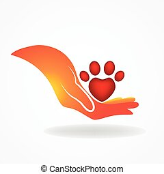 Hand with paw print pet icon logo