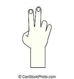 Hand with peace sign cartoon isolated in black and white