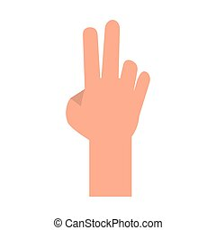 Hand with peace sign cartoon isolated