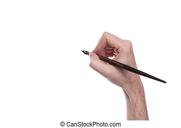 hand with pen antique writing isolated over white background