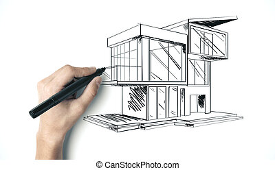 Hand with pen drawing cottage