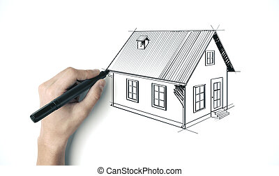 Hand with pen drawing house