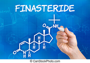 Hand with pen drawing the chemical formula of Finasteride