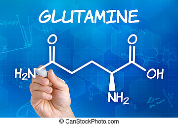 Hand with pen drawing the chemical formula of glutamine