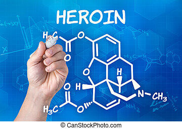 hand with pen drawing the chemical formula of heroin