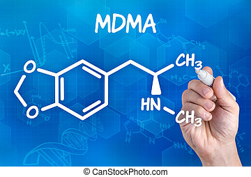 hand with pen drawing the chemical formula of MDMA
