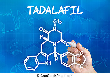 Hand with pen drawing the chemical formula of Tadalafil