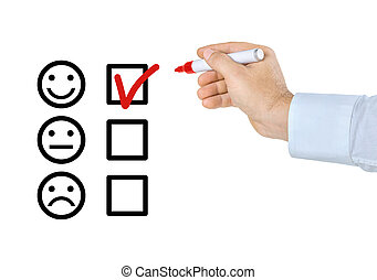Hand with pen filling out a checklist - Smileys