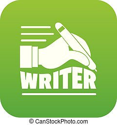 Hand with pen icon green vector