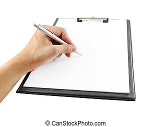 hand with pen writing on clipboard